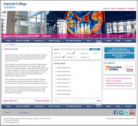 Imperial College London Website Mockup - Events