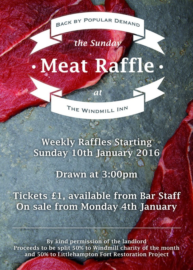 Windmill Inn Meat Raffle Poster